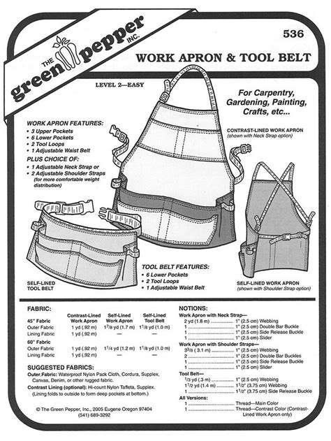 Sewing Pattern - Work Apron Pattern, Tool Belt Pattern