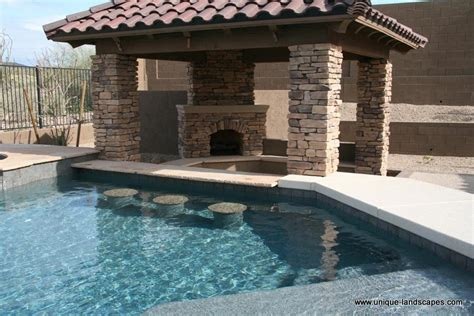 Outdoor Kitchen And Fireplace Designs by Swim Up Bars And Swimming Pools In Phoenix Az Photo Gallery