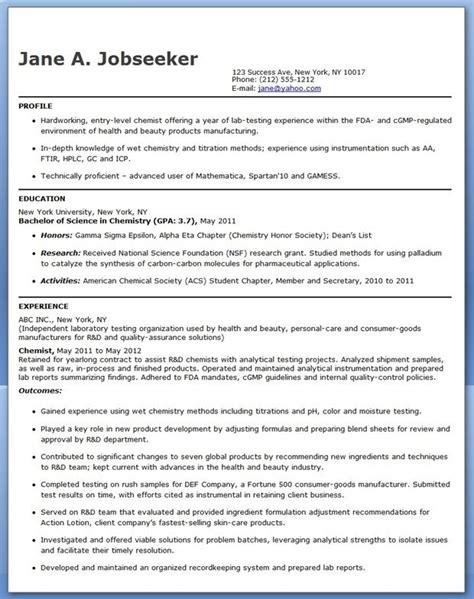 chemistry resume entry level chemistry resume sle creative resume design templates word entry
