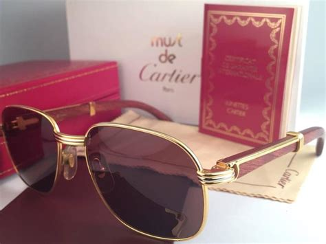 Ready Frame Cartier Fullset new cartier wood monceau gold and wood 53mm brown lenses sunglasses for sale at 1stdibs