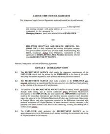Agreement Letter For Manpower Supply Sle Agreement For Labour Contract 7 Exles In Word Pdf