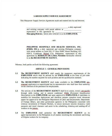 relations agreement template sle agreement for labour contract 7 exles in word