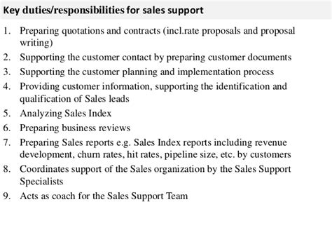 It Support Duties And Responsibilities by Sales Support Description
