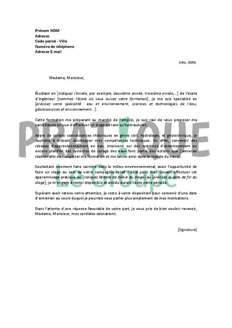 Lettre De Motivation Stage Génie Civil modele lettre de motivation genie civil document