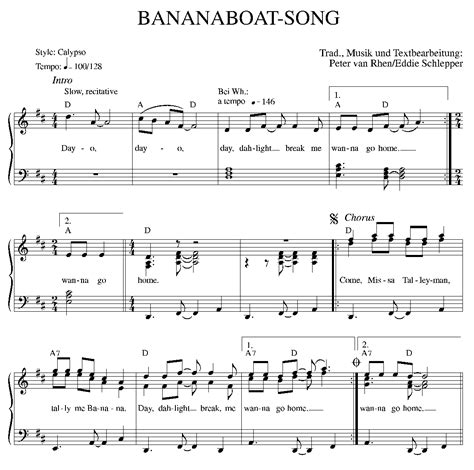 banana boat song notes bananaboat song traditional kalvier gesang download