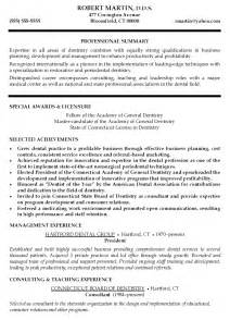 Dentist Resumes by Curriculum Vitae Sles For Dentist