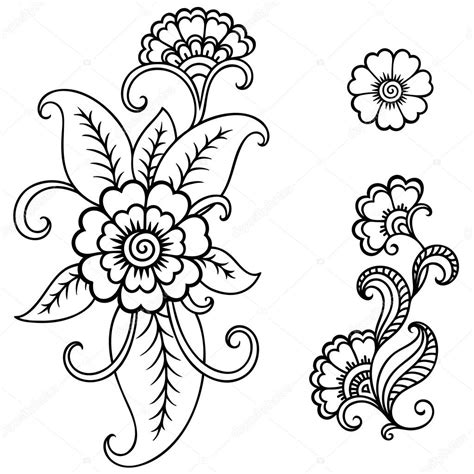 henna tattoo flower template mehndi stock vector