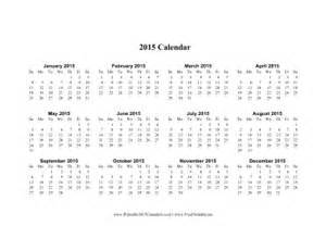 2015 calendar on one page horizontal calendar