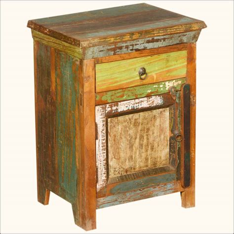 Distressed End Table by Rustic Reclaimed Wood End Table Swing Door Chest Drawer Finished In Distressed