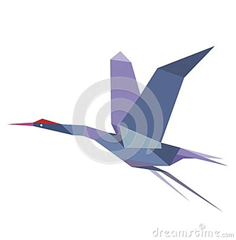 Origami Flying Crane - origami flying crane or heron stock vector image