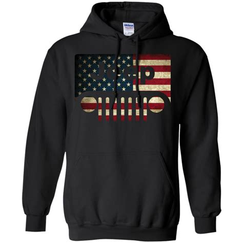 Sweaterhoodie Jeep Wrangler Jaket jeep lover american flag with jeep grille pullover hoodie 8 oz teeever