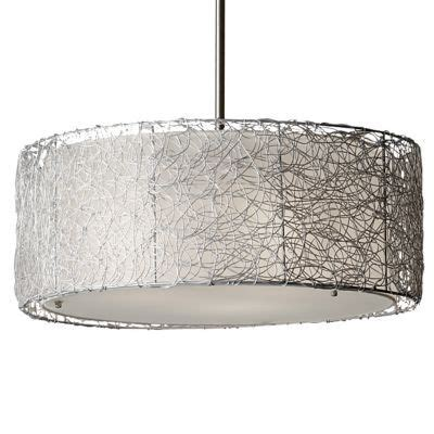 Pendant And Chandelier Lighting Wired Drum Pendant Silver Organza Steel Open Box