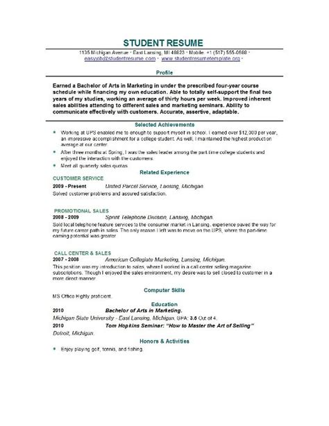 Resumes Templates For Students by Student Internship Resume No Experience