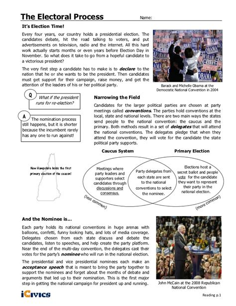 Electoral College Worksheet by Electoral Process Icivics