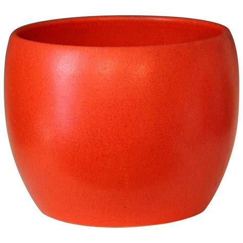 Orange Planters by Gainey Ceramics Vintage Chrome Orange Large Planter