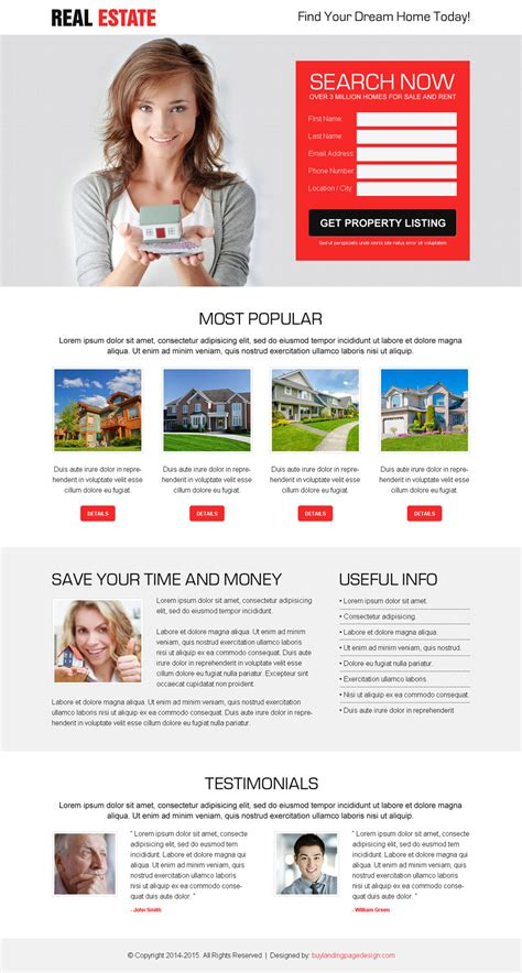 lead capture page templates free best real estate lead generation lp 004 real estate