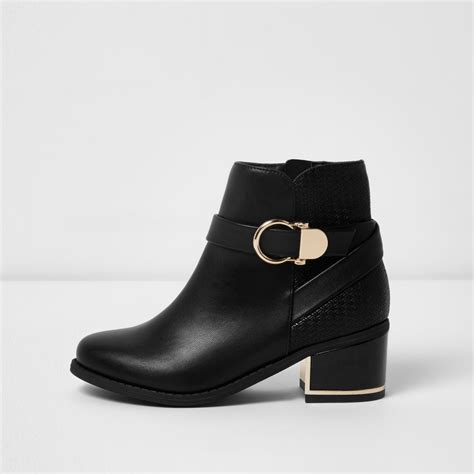 Block Heel Buckled Boots black circle buckle block heel boots boots