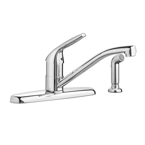 Kitchen Faucets Single Handle American Standard Reliant Single Handle Standard Kitchen Faucet With Side Sprayer In Polished