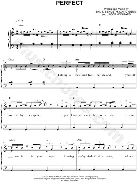 ed sheeran perfect easy piano hedley quot perfect quot sheet music easy piano in a minor