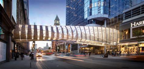 hudson lights shopping center design for eaton centre pedestrian bridge revealed