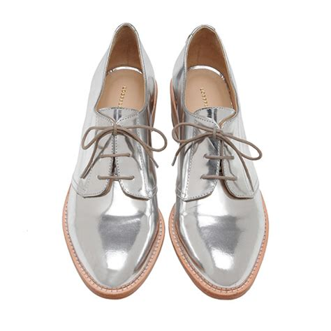 silver oxford shoes womens lyst loeffler randall joanna welted oxford in metallic