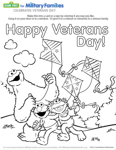 veterans day coloring page pdf military families resources for young children sesame street