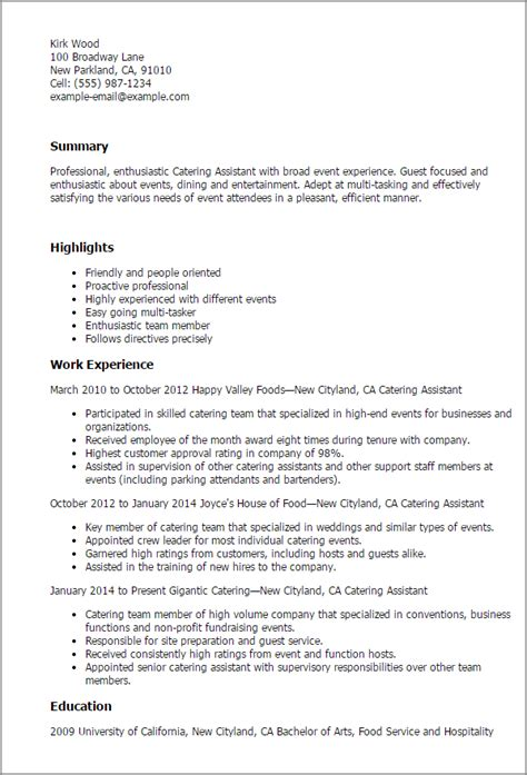 Cover Letter For Catering by Catering Assistant Resume Objective