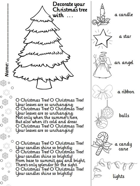 printable christmas tree activities enjoy teaching english o christmas tree song activity
