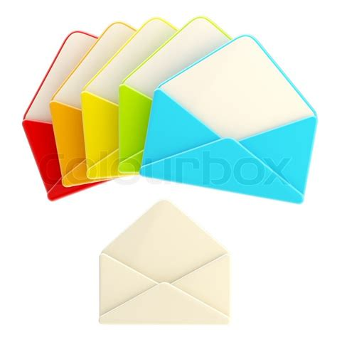 Set Of Colorful Glossy Blank Envelope Isolated On Set Of Colorful Glossy Blank Envelope Isolated On White Stock Photo Colourbox