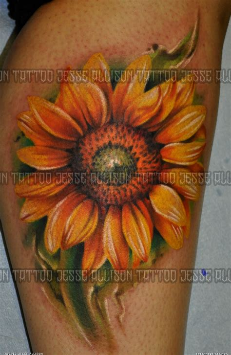 realistic sunflower tattoo photorealistic sunflower artists org