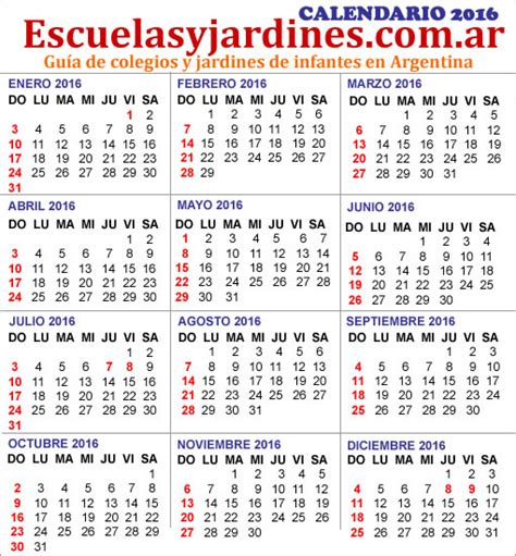 Calendario 2016 Para Imprimir Feriados Feriados 2016 Argentina Almanaque Para Imprimir