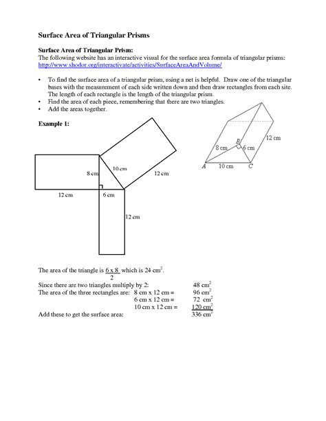 Surface Area Of Triangular Prism Worksheet by 11 Best Images Of Surface Area Rectangular Prism Net