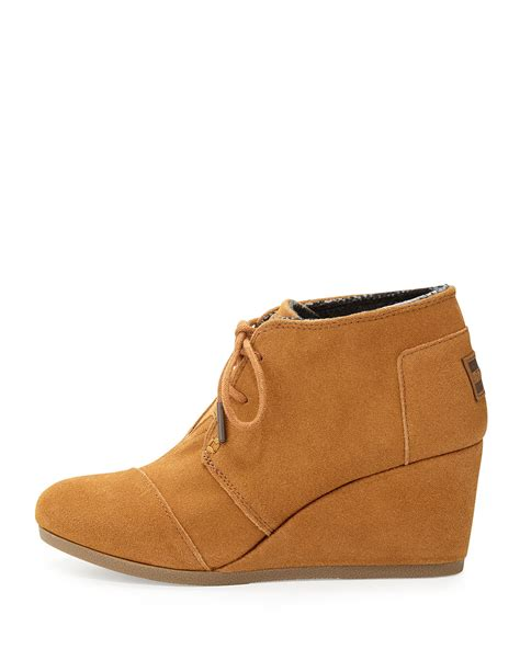 toms suede desert wedge boot in brown lyst