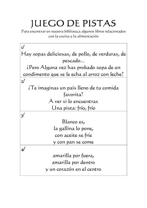 juego, pistas, cocina by biblioteca gerardo diego - Issuu