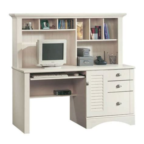sauder harbor desk with hutch sauder harbor view computer desk with hutch antiqued white