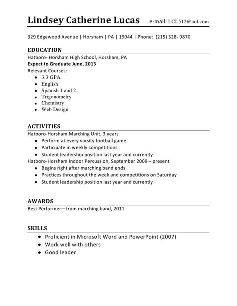resume for high school student http www resumecareer