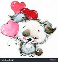 Valentines Day Cute Animals And LoveS Heart Watercolor Stock Photo
