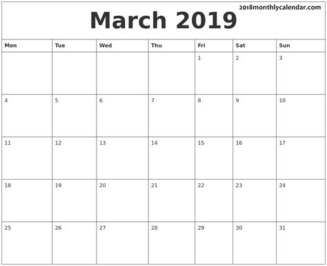 monthly calendar editable blank printable templates