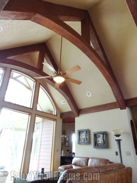 cathedral ceiling beams stunning living room trusses faux wood workshop