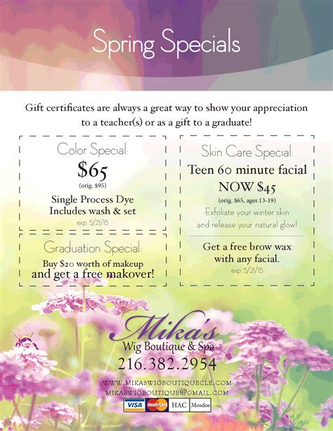 s wig boutique and spa specials