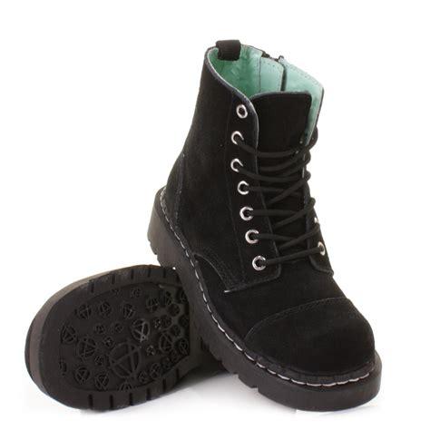 womens tuk shoes black anarchic suede 7 eye