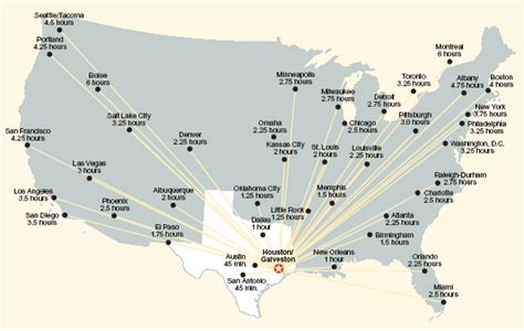 major airports in usa map george bush intercontinental airport iah