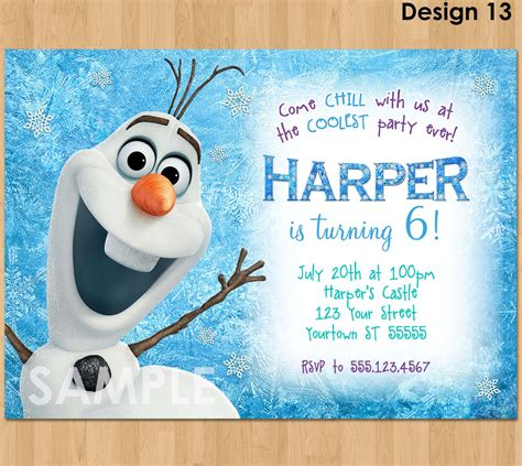 printable birthday invitations olaf olaf invitation frozen olaf birthday invitation printable