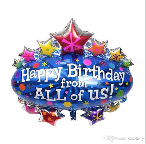 Balon Foil Happy Birthday Size 60 Cm 90 95cm big size canopy birthday foil balloons happy birthday from all of us foil balloon