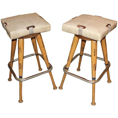 Baseball Base Bar Stools by Pair Of Custom Baseball Bat Bar Stools With Base Seat