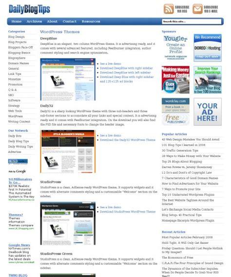 wordpress layout guide daily blog tips wordpress themes page