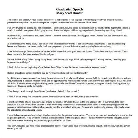 valedictorian speech template 11 graduation speech exle templates pdf doc