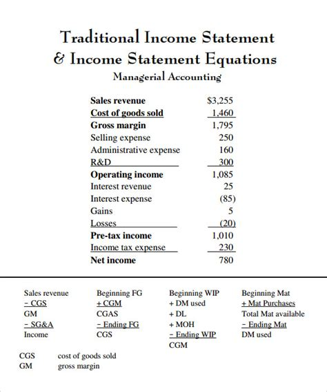 traditional templates traditional income statement 7 documents in pdf