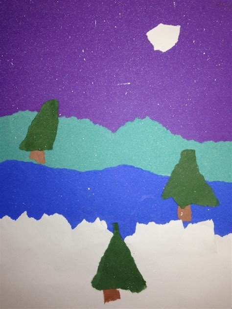 snowy landscape torn paper collage ms cbell s classes