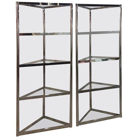 Triangle Corner Shelf by Milo Baughman Vintage Pair Of Chrome Etageres Shelves